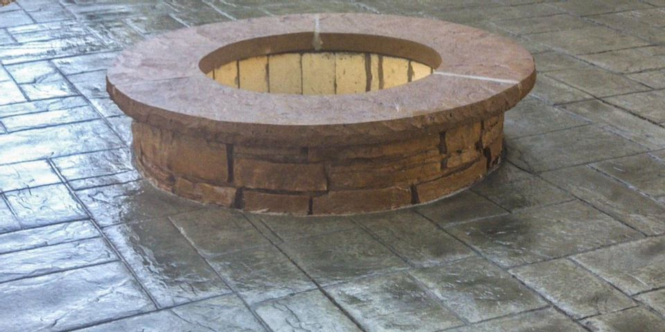 Stamped Concrete Firepit photo