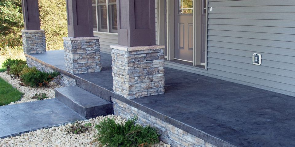 Decorative Concrete Front Porch and Walkway photo
