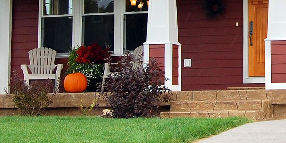 Decorative Concrete front Porch and Stairs photo